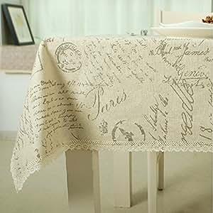 Lkklily-tableclothletters Chiffon de coton Imprimé Serviettes de table Nappe en lin Housse universelle, 140*160