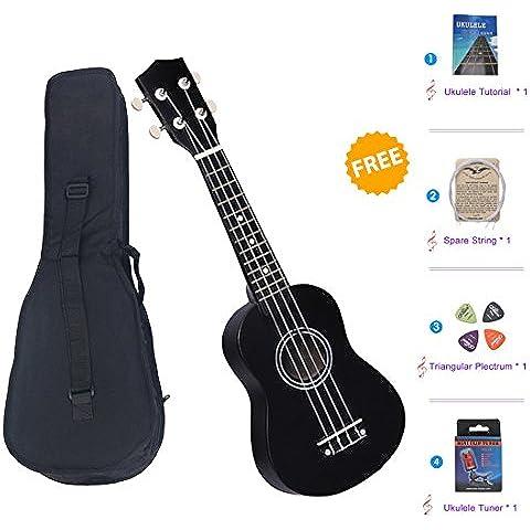 SkySea Serie de Colores Ukelele de Soprano de 21 Pulgadas Pequeña Guitarra para Principiantes de Música Guitarra Hawaiana con Bolsa y Sintonizador (Negro)