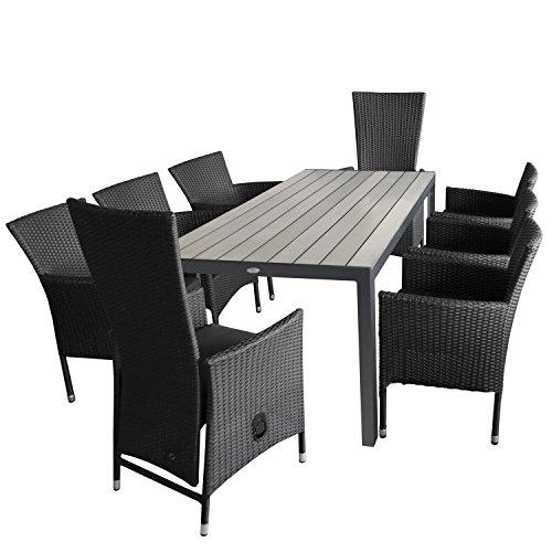 9tlg. Gartengarnitur Aluminium Gartentisch, Polywood-Tischplatte grau, 205x90cm + 6x Rattan-Stapelsessel, stapelbar + 2x Rattansessel, Rückenlehne stufenlos verstellbar inkl. Sitzkissen / Sitzgruppe Terrassenmöbel Set