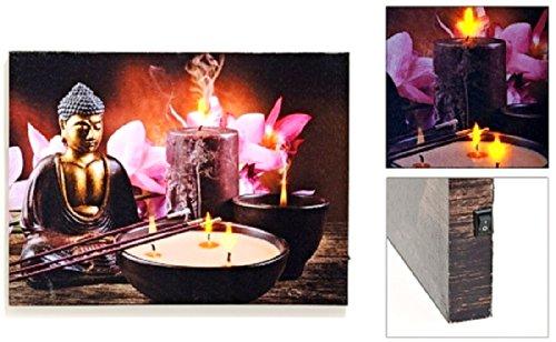 Cuadro Feng Shui con iluminación 3 LED lienzo de Buda