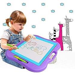Hiwatch Pizarras Mágicas Multicolor con Pluma y Linda Sello Tablero de Dibujo Magnético Multicolor Borrable para el Desarrollo Habilidades de Dibujar de Bebé/Niños Juguete para Niños