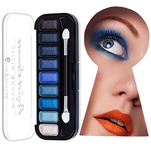 Perfect Summer 9 Colors Waterproof Blue Eyeshadow Palette Glitter Makeup #003, 7.2g