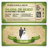 Einladungskarten zur Hochzeit (30 Stück) als Eintrittskarte im Vintage Ticket Look Hochzeitskarten in Grün