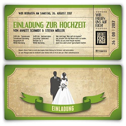Einladungskarten zur Hochzeit (20 Stück) als Eintrittskarte im Vintage Ticket Look Hochzeitskarten in Grün