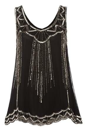 Roman Women's Art Deco Embellished Top Black Size 18