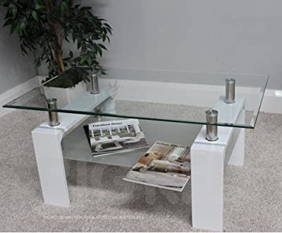 New Modern Glass Rectangle Coffee Table in White with Chrome Finish