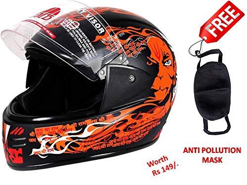 JMD HELMETS Elegant Decor Pawan Full Face Helmet (Black and Orange, Large)