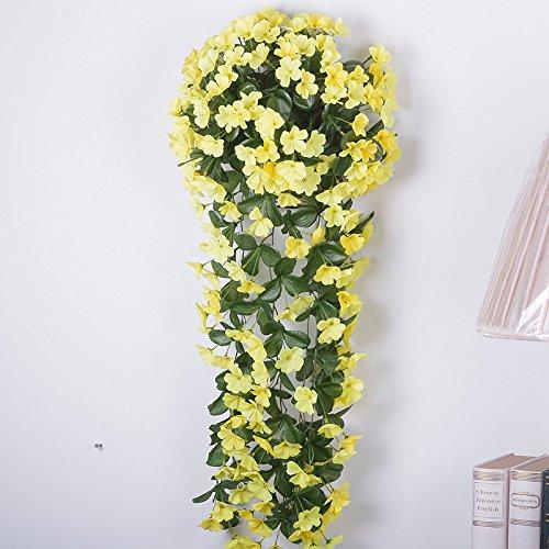 Lx.AZ.Kx Emulazione viola Flower kit sostituisce il Green-Shik Supporto di montaggio a parete per impianti di emulazione di ferro art decor Fiori artificiali Rattan vitigni Vinesb emulazione)
