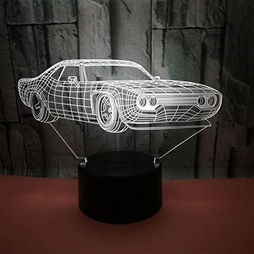 Aikon 3D Nachtlicht fürs Auto, Ferrari-Tischlampe, 7 Farben, wechselnde Schreibtischlampe, 3D-Lampe, Neuheit LED-Nachtlichter, Sitzzimmer