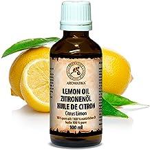 Huile de citron, huile essentielle 100% naturelle 100ml 3,33 oz, Huile de citron pure et naturelle - Citrus Limon, Italie - pour bien dormir / beauté / soulagement du stress / bain / soin du corps / bien-être beauté / aromathérapie / détente / massage / SPA / Aroma diffuser / Cosmétique / Cosmétique / Thérapeutique / Médecine alternative; Bouteille en verre, de AROMATIKA