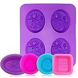 AFUNTA - Moldes de silicona para jabón (5 unidades, 8 cavidades, antiadherentes, para hacer jabón, cupcakes, magdalenas, horneado, cuadrado, redondo, ovalado)