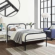 Telaio del letto di metallo Coavas 3 piedi del bambino singolo o adulti Solid Bedstead base con 2 testata nero