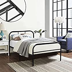Coavas Single Metal Bed Frame 3ft Single Solid Bedstead Base with 2 Headboard for Adults and Kids Bed Black, fit 90*190 Mattress