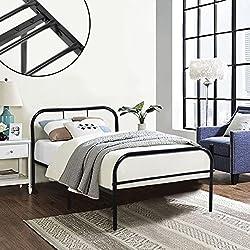 Coavas Single Metal Bed Frame 3ft Single Solid Bedstead Base 2 Headboard Adults Kids Bed Black, fit 90 * 190 Mattress
