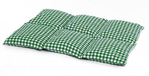 Cojín de semillas de lino | 40x30 verde-blanco | Cojín de calor | Para microondas y horno