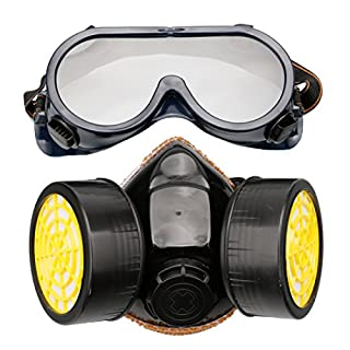 A-SZCXTOP Industrial Chemical Gas Anti-Dust Spray Paint Dual Respirator Mask With Goggles