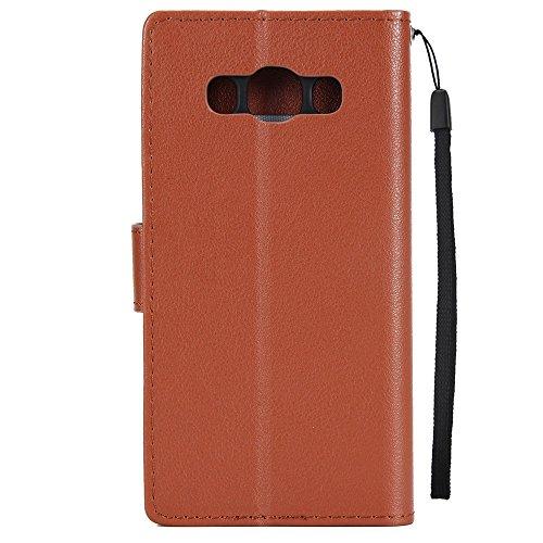 Klassische Premiu PU Ledertasche, Horizontale Flip Stand Case Cover mit Cash & Card Slots & Lanyard & Soft TPU Interio Rückseite für Samsung Galaxy J710 ( Color : Black ) Brown