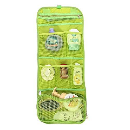 forepin Trousse de Toilette Voyage Organiseur Pochette Sac de Rangement Intérieur Bag in Bag Make up Cosmétique Organisateur Rangement Bag Folding Portable - Style 2 Vert