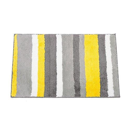 Comfysail 50X80cm Carpette Tapis 100% Polyester rayures colorées Anti-glissant et Antibacterienne Microfibre Souple pour Salle de Bain (rayures jaune)