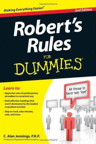 Robert's Rules For Dummies by Jennings PRP, C. Alan (2012) Paperback