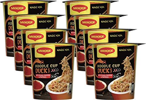 MAGGI Magic Asia Noodle Cup: Duck, Instant-Nudeln mit Enten-Geschmack, leckeres Fertiggericht im praktischen Becher, mit Gemüse verfeinert, 8er Pack (8 x 63 g)