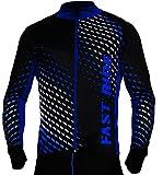 Camiseta de ciclismo trikott manga larga–Camiseta de ciclismo bicicleta camiseta Hombre Mujer Unisex Bicicleta Ciclismo térmica Camiseta reflectores rápido trokend sr0032stanteks, color negro / azul, tamaño extra-large