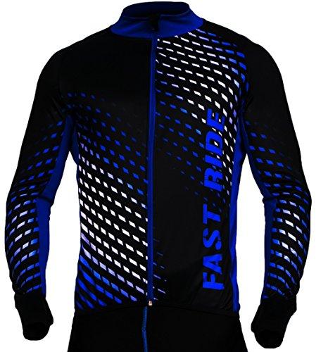 Radtrikot Trikott Langarm Fahrradtrikot Fahrradshirt Fahrradbekleidung Herren Damen Unisex Fahrrad Radsport Thermo Atmungsaktiv Jersey Reißverschluss Shirt Reflektoren Schnelltrokend SR0032 Stanteks (Schwarz-blau, L)