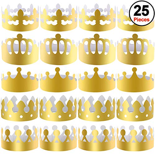 SIQUK 25 Stück Papierkronen Gold Party Crown Papierhüte Party King Crown für Kinder und ()
