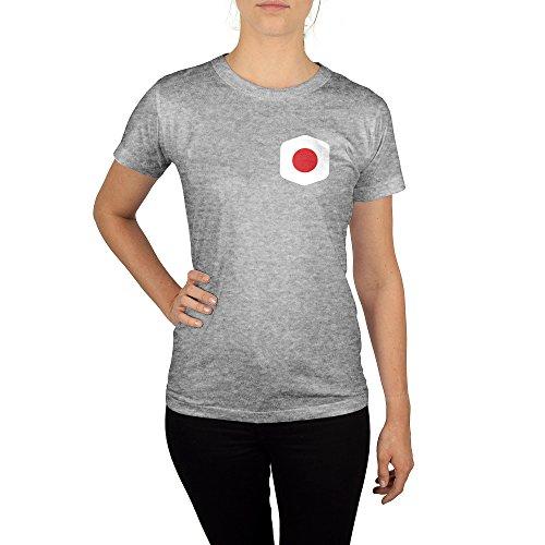 Frauen T-Shirt mit Aufdruck in Grau Gr. M Japan WM Weltmeisterschaft 2018 Girl Top Mädchen Shirt Damen Basic 100% Baumwolle Kurzarm