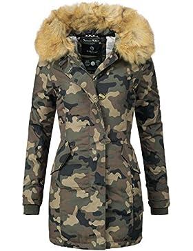 Marikoo Karma - Abrigo de invierno para mujer, pelo sintético, con capucha