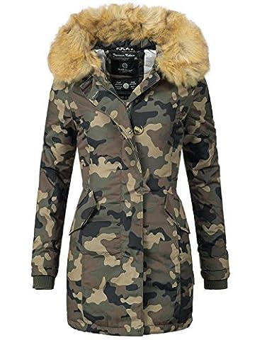 Marikoo Damen Mantel Wintermantel Winterparka Karmaa XS-XXXXXL (vegan hergestellt) Camouflage Gr. M