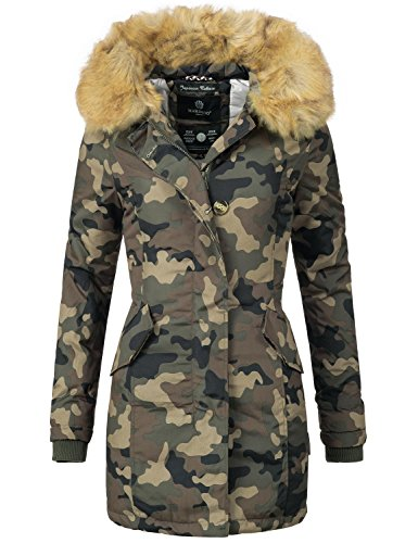 Marikoo Damen Mantel Wintermantel Winterparka Karmaa XS-XXXXXL (vegan hergestellt) Camouflage Gr. S (Kapuzen Mantel Jacke Down-winter)