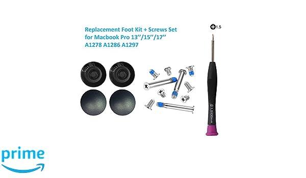 Cemobile 4/pezzi di piedini in gomma esterno di ricambio per Apple MacBook Pro Unibody A1278/A1286/A1297/inferiore 33/cm 38,1/cm 43,2/cm con viti inferiori cacciavite