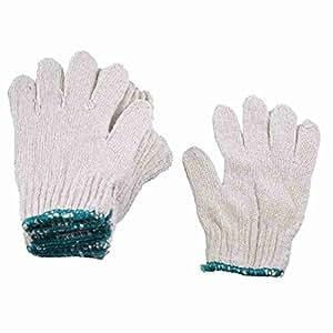 Miki & Co 6Paar Grün Elastische Stulpe Beige Cotton Yarn Baustelle Arbeitshandschuhe