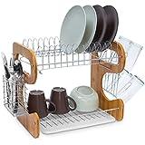 Relaxdays Égouttoir à vaisselle 2 étages en bambou Porte-couverts Bac de récupération crochets pour tasses et assiettes en métal HxlxP: 35 x 51 x 26,5 cm, nature