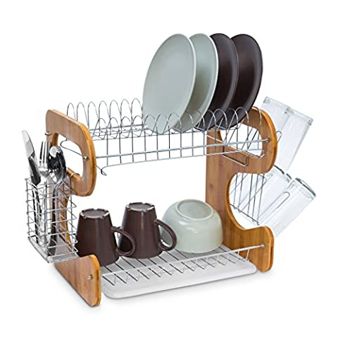 Relaxdays Draining Rack with 2 Levels 35 x 51 x 26.5 cm 2 Shelf Large Kitchen Dish Rack Bamboo & Stainless Steel With Drip Tray And Cutlery Basket Dish Drainer Metal, Natural