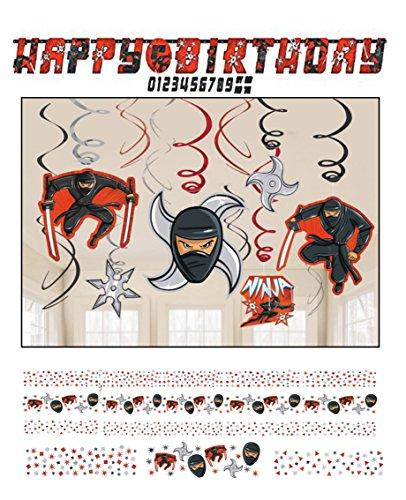 Ninja Geburtstag Dekoration Geburtstag Party für Kids // Happy Birthday Banner, Konfetti, Spirale