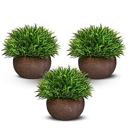 Nomisty Etmury Kunstpflanze,Künstliche Blumen Bonsai Kunstpflanze mit grauen Topf,Künstliche Grün Gras für Wohnzimmer Balkon Badezimmer Büro Hochzeit Dekorativ, Exquisite New House Geschenk