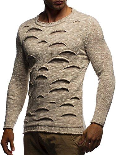 LEIF NELSON Herren Pullover Strickpullover Hoodie Basic Rundhals Crew Neck Sweatshirt langarm Sweater Feinstrick LN20727; Grš§e M, Beige