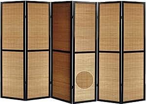 Paravent en bois noir et bambou de 6 pans -PEGANE-