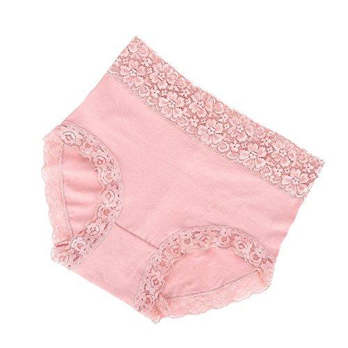 Filfeel 3Colors 2Sizes Womens Panties Unterwäsche Slips Lace High Waist Intimates Knickers Underpants(XL-Rosa) -