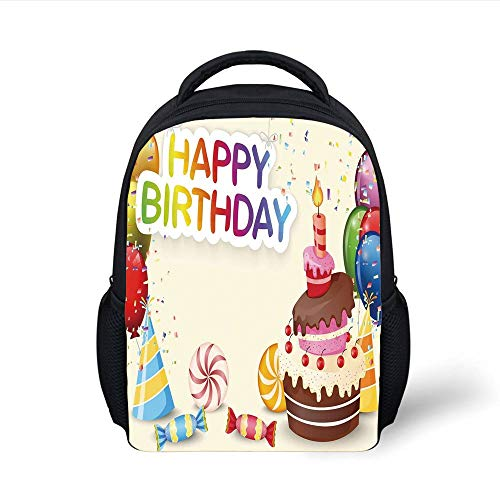 Kids School Backpack Birthday Decorations,Cute Composition of Candies Yummy Cake Confetti Party Hats Balloons,Multicolor Plain Bookbag Travel Daypack