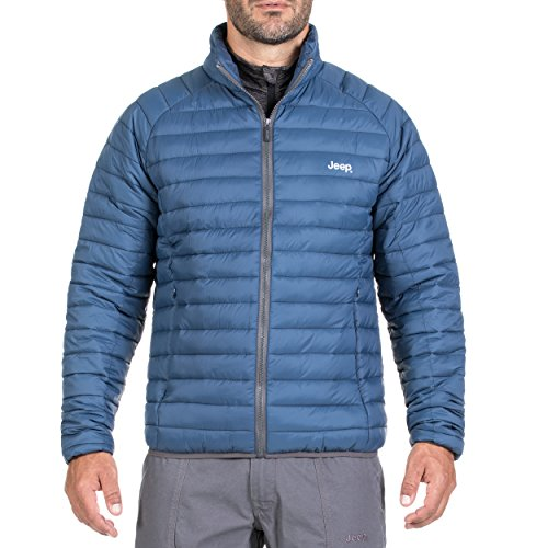 Jeep Herren Leichter Anorak aus tropfendichtem Gewebe Jacket, Denim/Dark Grey, 2XL