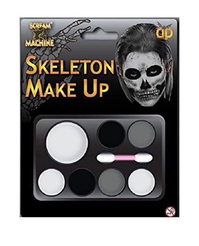 stüm Zombie Skelett Hexe Teufel Untoten Make Up Palette mit Anwendung Pinsel ()