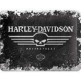 Nostalgic-Art Harley Davidson Black Skull Signe d'acier (na 2015)