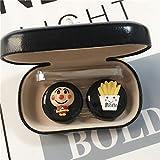 LFchujian Scatola di cuoio creativa portatile femminile di grande capacità della scatola di personalità del contenitore di lenti a contatto del retro ragazzo adorabile.-Pane nero