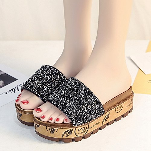 RUGAI-UE Donne ciabatte sandali donna estate moda indossare le suole spesse pantofole di paillettes scarpe da spiaggia Black