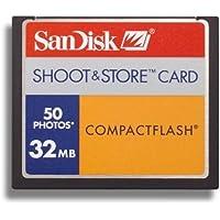 Sandisk CompactFlash Shoot & Store CF 50foto 32MB scheda di memoria (Confezione originale)
