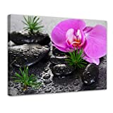 Kunstdruck - Zen Steine XI - Bild auf Leinwand - 50x40 cm einteilig - Leinwandbilder - Bilder als Leinwanddruck - Wandbild von Bilderdepot24 - Geist & Seele - Erholung - Wellness - Steine mit Gras und Orchideenblüte