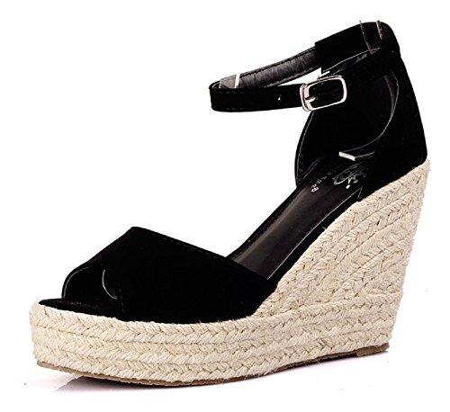 Inception pro infinite taglia 36 - scarpe - sandali estivi - sexy - comodi - eleganti - adulti - donna - ragazza - colore nero - tacco alto - zeppa in corda - stagione adatta: primavera/estate